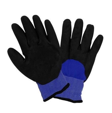 Vinterhandske gummi/akrylfleece, grå/blå