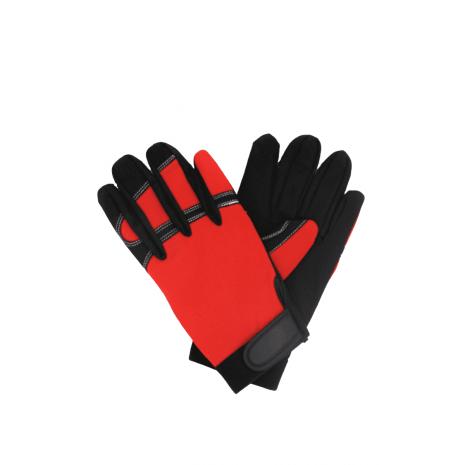 Syntetläderhandske vadderad knoge, svart/röd